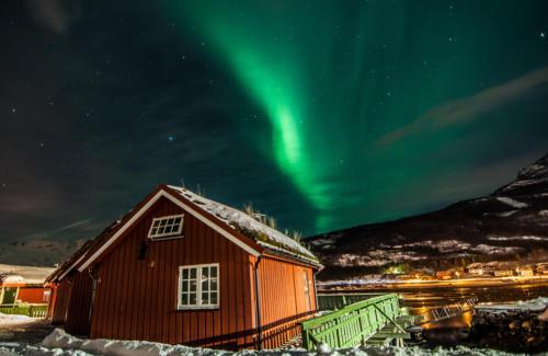 Zimní Norsko - polární záře